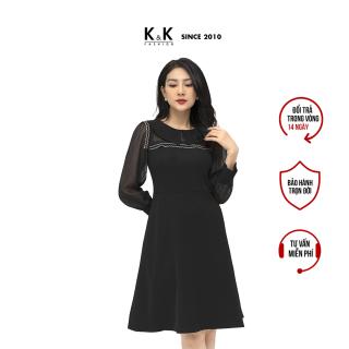 Đầm Công Sở Nữ Dáng Xòe K&K Fashion KK105-30 Đen Cổ Sen Tay Dài Phối Voan thumbnail