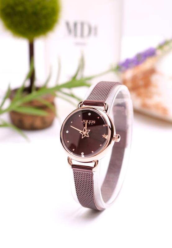 Đồng hồ nữ Julius Hàn Quốc JA-1192B dây thép màu tím