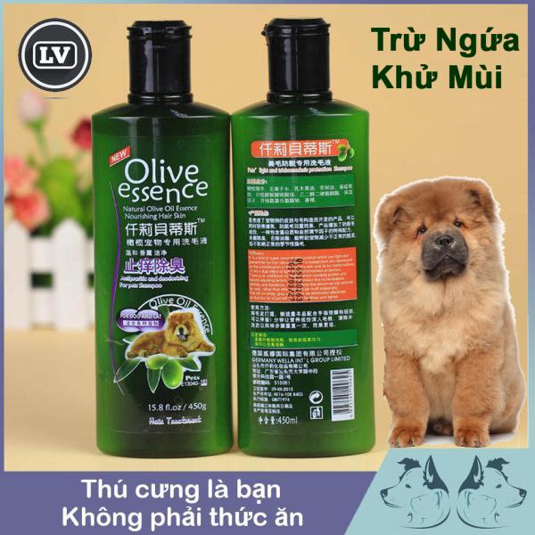 Sữa tắm chó tinh dầu ô liu OLIVE trừ ngứa, khử mùi - Dầu tắm chó mèo 450ml