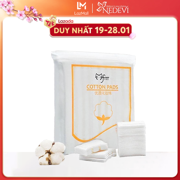 Bông tẩy trang 100% cotton 3 lớp mềm mịn thấm hút cực tốt 222 miếng/bịch COTTON PADS