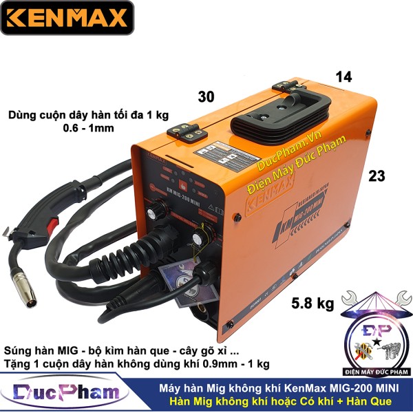 Máy hàn Mig không dùng khí KenMax KM MIG-200 MINI - 3 chức năng - máy hàn điện tử - máy hàn que