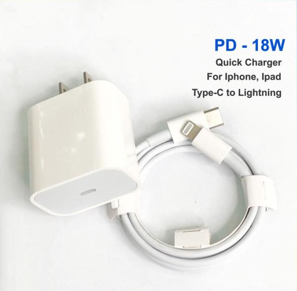 Bộ sạc nhanh PD 18W 20W cho iphone ipad, củ xạc và dây cáp type c to lightning cho IP 6 7 8 x xs xr xsmax 11 11pro 12