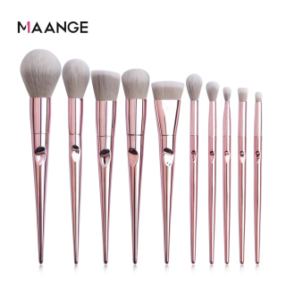 Bộ 10 cọ trang điểm màu hồng MAANGE lông mềm mịn phụ kiện làm đẹp kèm túi đựng mỹ phẩm - INTL thumbnail