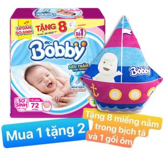 [Tặng 1 gối ôm + 8 miếng tã quần size S] Tã Dán Bobby Sơ Sinh NewBorn Siêu Thấm size XS 72 (72 Miếng) Tã dán Bobby size XS - 72 miếng thumbnail