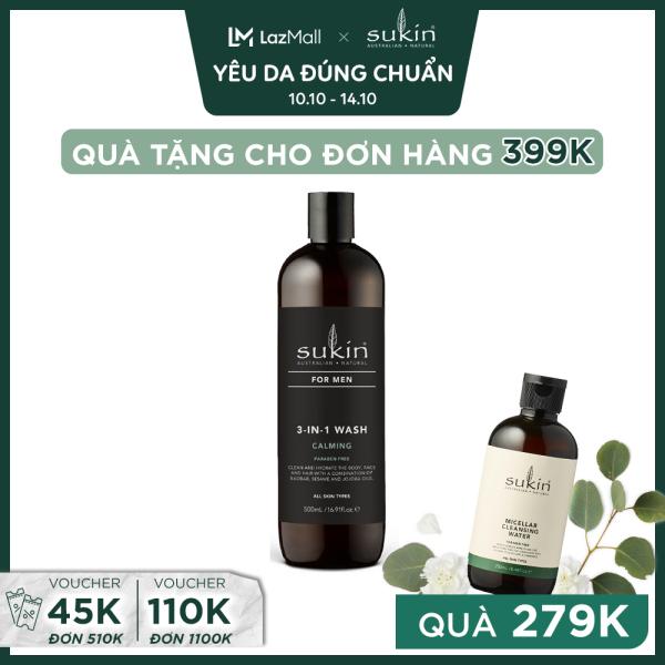 Sữa Tắm Hương Dịu Êm Sang Trọng Dành Cho Nam Sukin 3 - in - 1 Wash Calming 500ml cao cấp