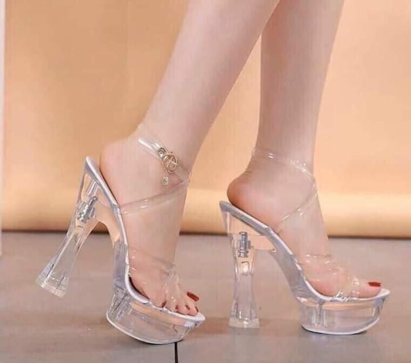 Giày đúp cao gót quai trong đế trong sang trọng, kết hợp dạ hội, áo dài,dự tiệc cực sang cao 13cm giá rẻ