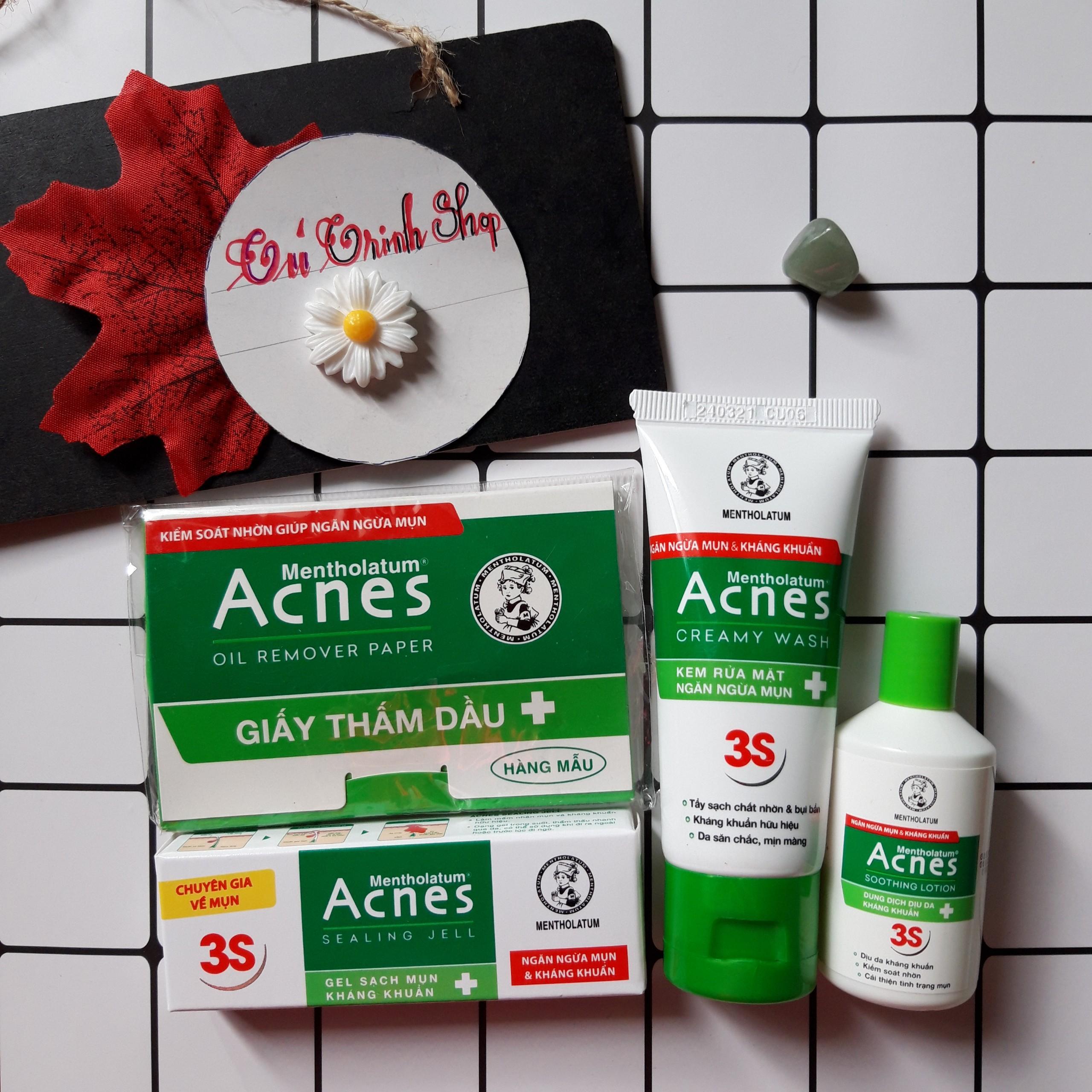 (DÙNG THỬ ) 4 Món MINI Acnes (da đầu/ hỗn hộp) -GỒM: 1 gel trị mụn 2g+ 1 sữa rữa mặt 25g-xanh+ 1 phim thấm dầu 50 tờ+ 1 dung dịch 25ml