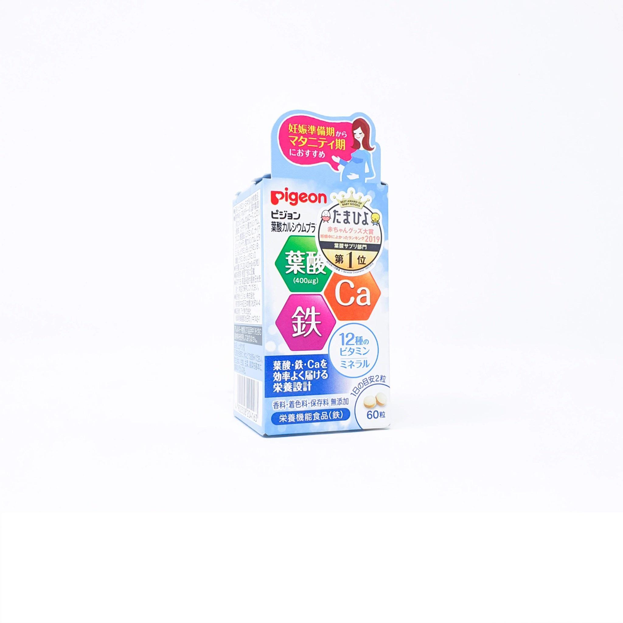 Viên uống bổ sung canxi, acid folic, kẽm cho bà bầu Pigeon 60 viên Japan