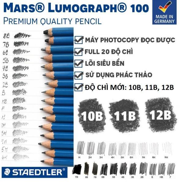 Mua Bút chì xanh cao cấp Staedtler Mars Lumograph 100 chọn từ (9H,8H,7H,6H,5H,4H,3H,2H,H,F,HB,B,2B,3B,4B,5B,6B,7B,8B,9B,10B,11B,12B)