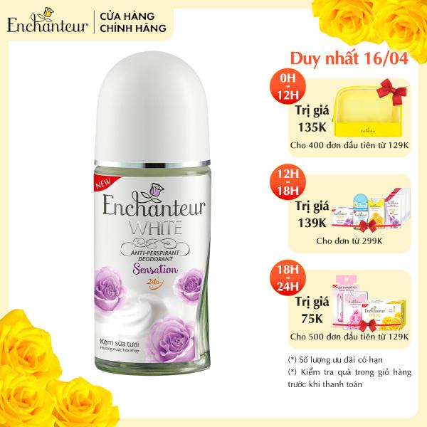 Lăn khử mùi trắng da Enchanteur Sensation dưỡng trắng vùng da dưới cánh tay 50ml