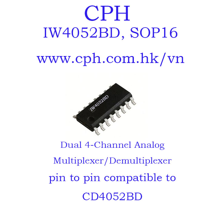 Giá 5pcs IW4052BD CD4052BD IW4052 CD4052 SOP16 IKSemicon Dual 4-Channel Analog Multiplexer/Demultiplexer