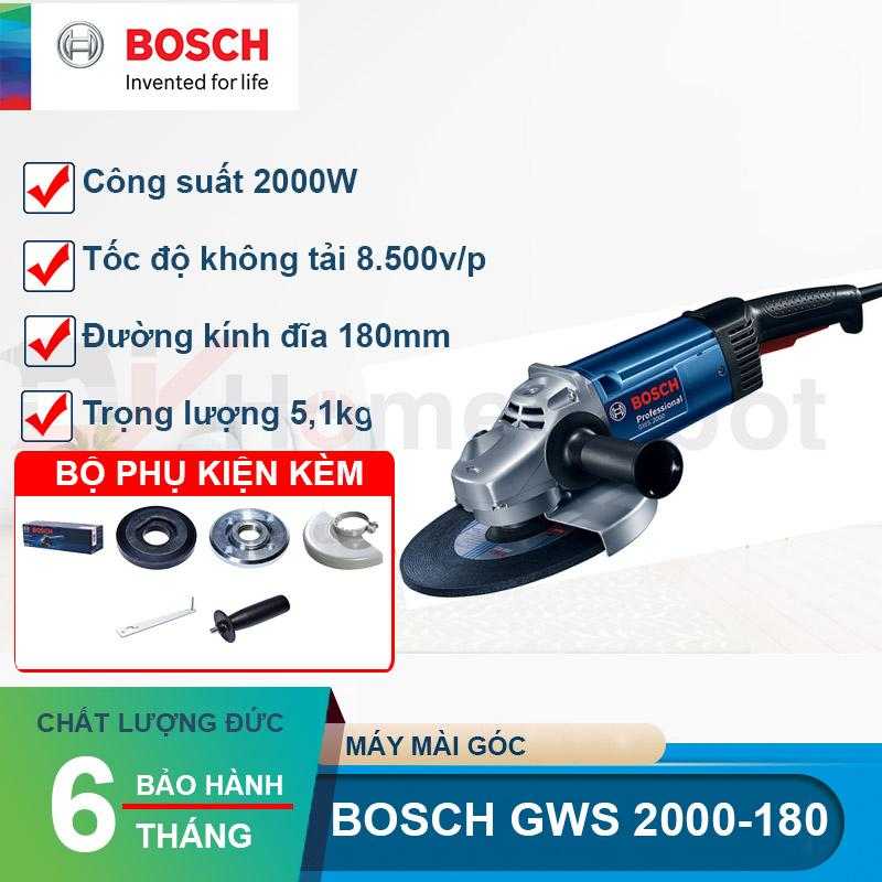 Máy mài góc Bosch GWS 2000-180 Công suất 2000W, đường kính đĩa 180mm