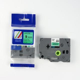 Nhãn in CPT-721 tương thích máy in nhãn Brother P-Touch - Nhãn in chữ đen nền xanh lá khổ 9mm (Green) thumbnail