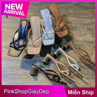 Giày cao gót nữ 5 phân PinkShopGiayDep.giày đế trụ quai dây xỏ ngón thời trang thumbnail
