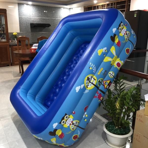 [ Hàng Loại 1 ] Bể bơi phao 3 tầng 1m5 cho bé, bể bơi phao gia đình hình chữ nhật 3 tầng loại dày 150cmx110cmx50cm + Tặng keo và miếng dán,Bảo Hành 12 Tháng-Lỗi 1 Đổi 1