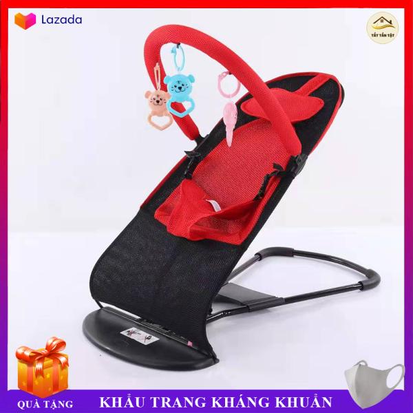 Ghế Rung Nhún Cao Cấp có móc treo đồ chơi và gối đầu cho bé, thiết kế khung thép dẻo chắc chắn an toàn cho bé