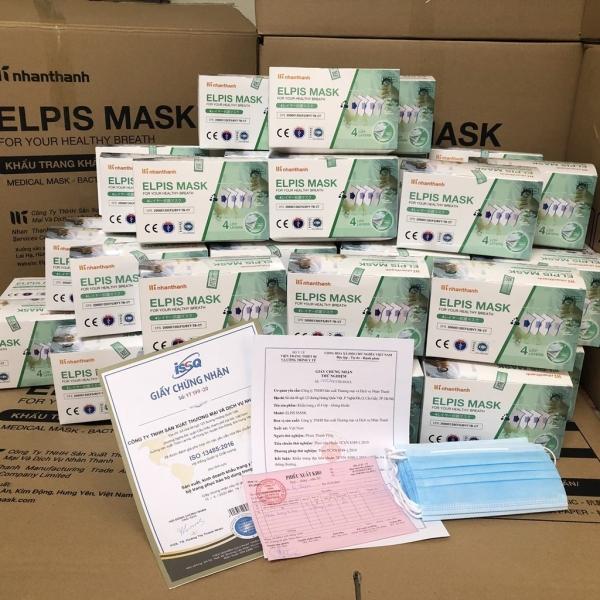 [ HÀNG CHÍNH HÃNG ]  KHẨU TRANG XUẤT NHẬT BẢN- ELPIS MASK HỘP  50 chiếc - 4 lớp kháng khuẩn. Mầu XANH