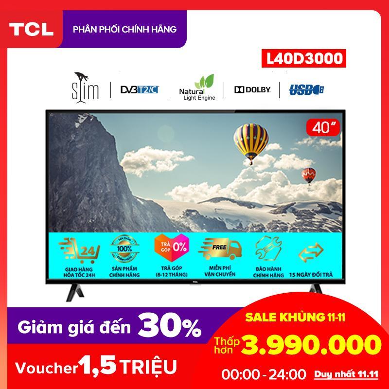 Tivi 40 inch TCL HD - L40D3000 - Dolby, Công nghệ Dynamic, DVB-T2 - Tivi giá rẻ chất lượng - Bảo hành 3 năm
