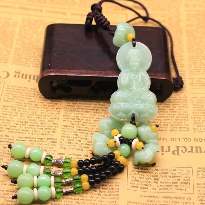 Dây Phật Quan  Âm Bồ Tát bằng đá xanh treo xe ô tô, vật phẩm phong thủy trang trí xe ô tô, cầu bình an, may mắn trên mọi hành trình. (Shop Xế Xinh)