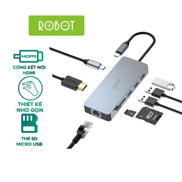 Bảng giá Bộ chuyển đổi 8in1 ROBOT HT380 Type-c cổng kết nối USB 3.0&2.0/ HDMI/PD/SD/TF/PD cho Macbook bộ chuyển đổi máy tính Matebook USB 3.0 - HÀNG CHÍNH HÃNG Phong Vũ