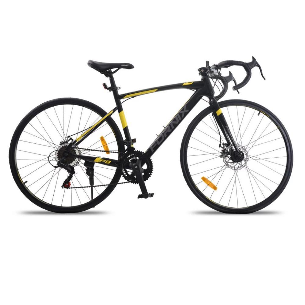 Mua Xe đạp đua Fornix F8, Khung Sườn hợp kim thép cao cấp, tay đề SHIMANO, bộ truyền động SHIMANO, tốc độ 14, vòng bánh 700C, màu Xám - Vàng - Đen
