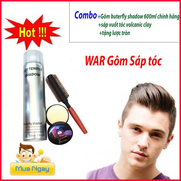 [tặng lược]Combo gôm xịt tóc Butterfly Shadow 600ml chuẩn salon + sáp vuốt tóc Volcalic Clay , sản phẩm tốt, chất lượng cao, cam kết như hình, độ bền cao