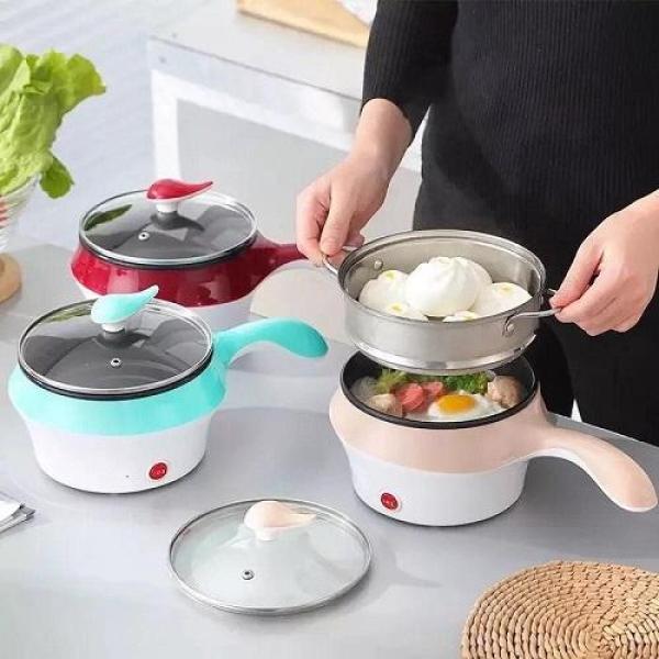 Ca Nấu Mì Kiêm Nồi Lẩu Mini Có Tầng Hấp - Ca nấu mì siêu tốc, nồi nấu đa năng, ca điện mini tiện lợi (Giao màu ngẫu nhiên)