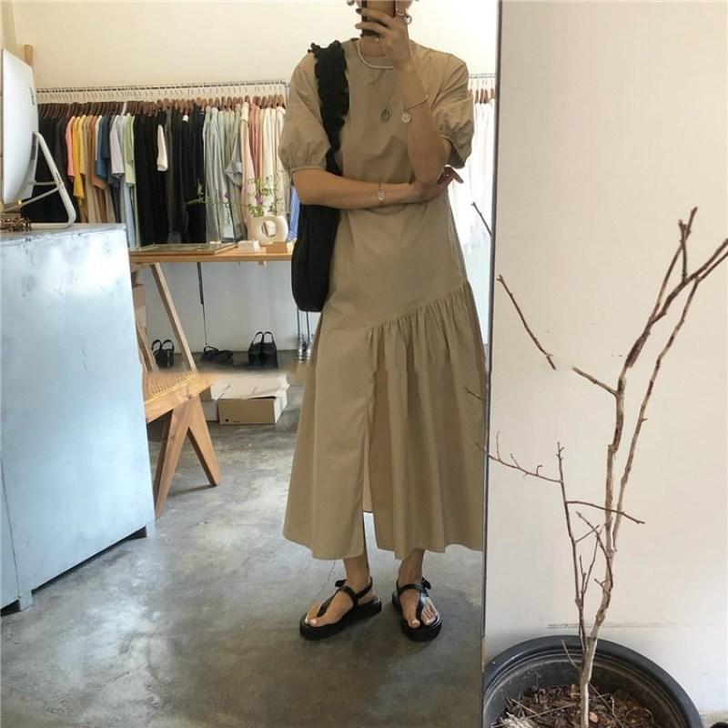 Hàn Quốc váy nữ thời trang xuân hè thiết kế trang nhã, đầm dài qua đầu gối khoét sâu dáng dài kiểu ghép mảnh sang trọng quý phái cho nữ - INTL