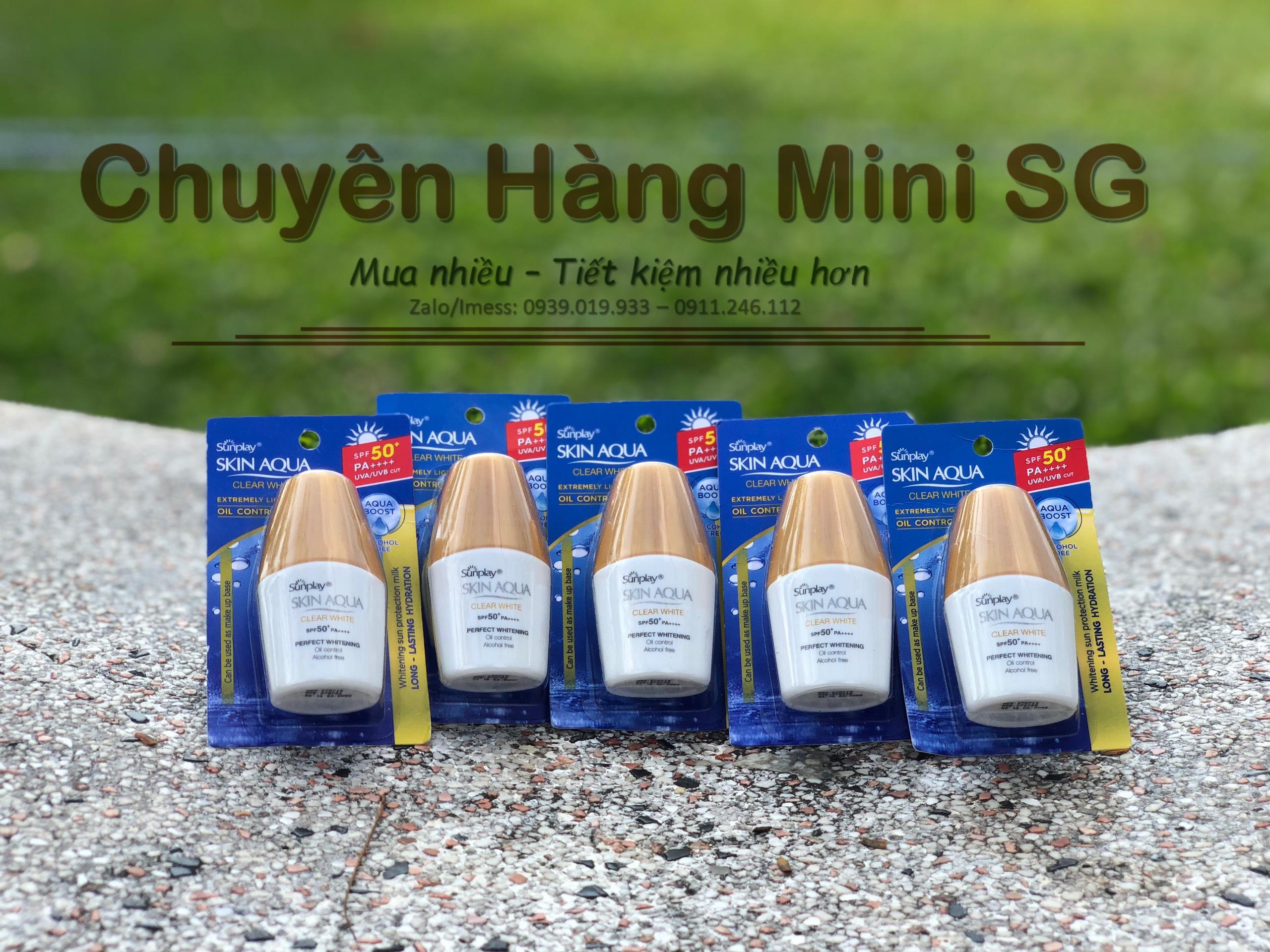 Set 5 chai kem Sunplay Skin Aqua Clear White SPF 50+ PA++++ 5g nhập khẩu