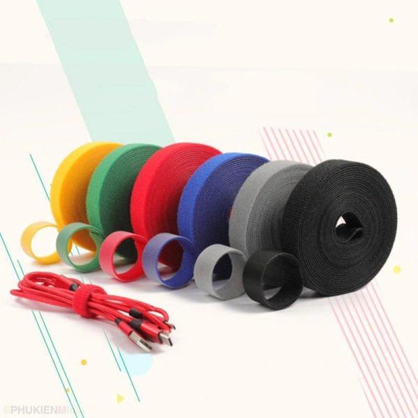 Giá Combo 5 cuộn dây 1 mét dây băng gai dính lưng (băng nhám) loại dài đa năng quấn gọn gàng dây cáp sạc điện thoại, cáp máy tính, tai nghe loại cuộn dài sử dụng nhiều lần