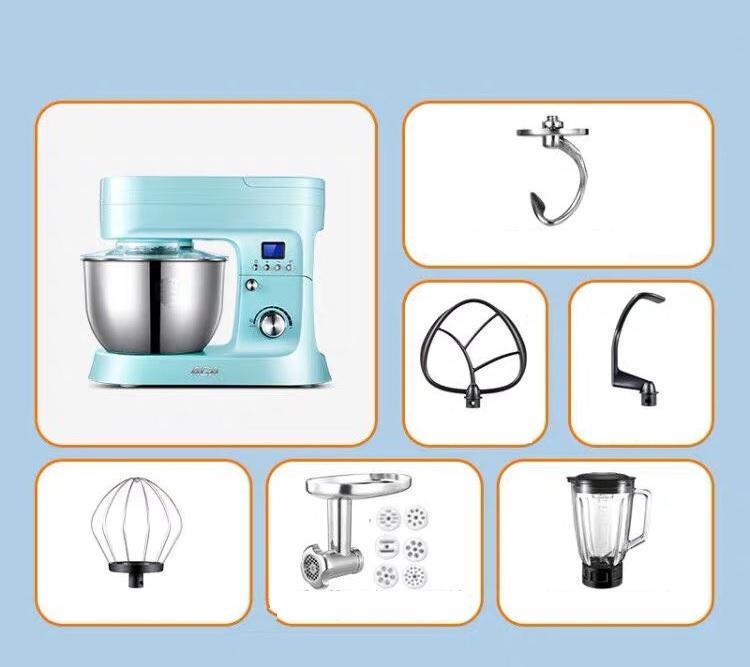 Bộ máy nhà bếp Kitchen Machine đa năng Đánh trứng, Trộn bột, Xay thịt, Xay sinh tố, Đánh kem ACA ASM-PE1210A (Ảnh thật cuối hình)