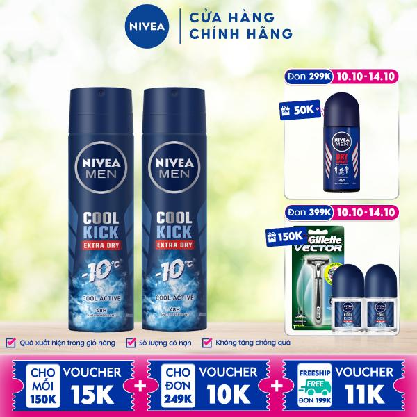 Combo 2 Xịt ngăn mùi NIVEA MEN Cool Kick Mát Lạnh - Thơm năng động (150ml) - 82883 cao cấp
