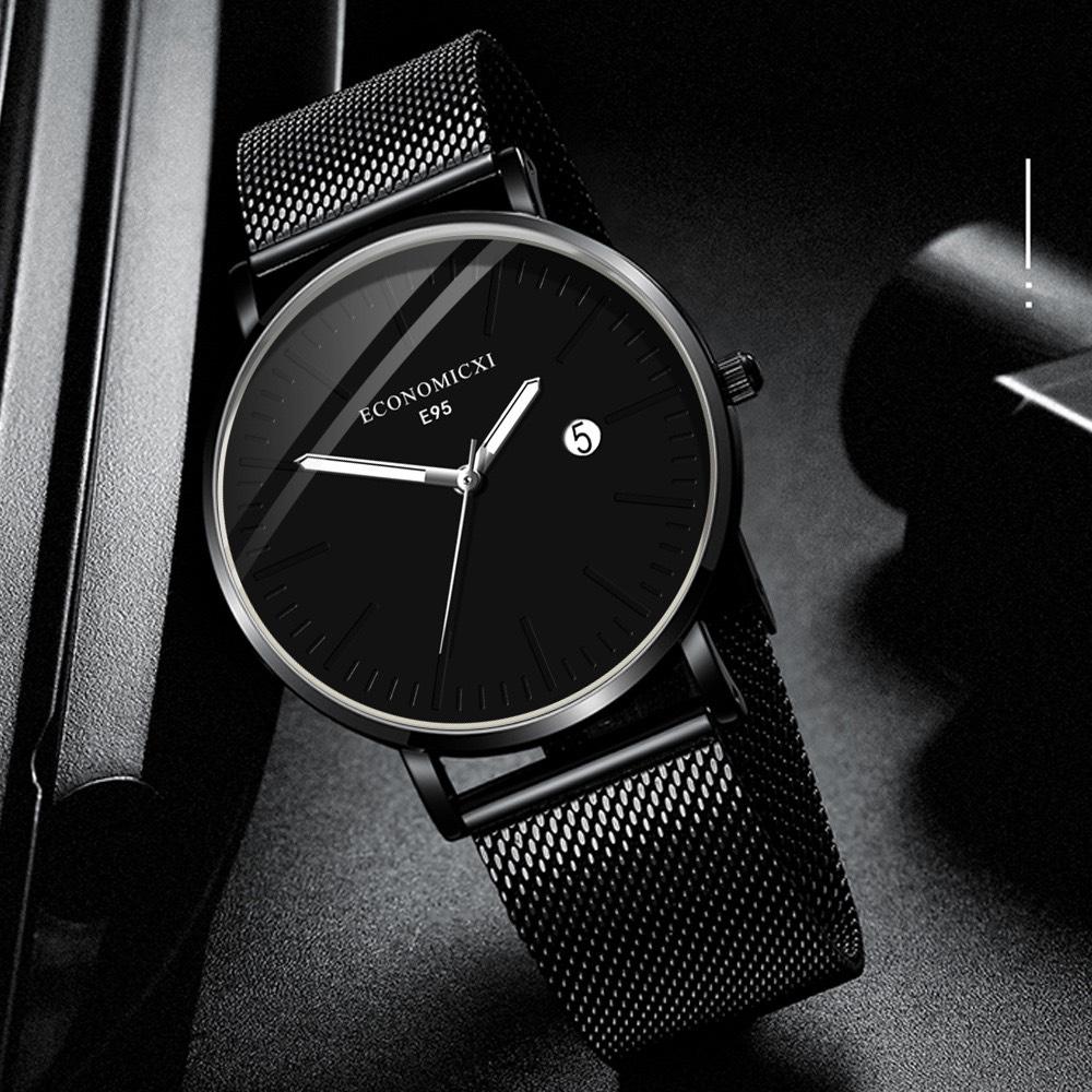 Đồng hồ nam ECONOMICXI dây thép lụa đen có lịch ngày cao cấp - thiết kế nam tính (Full hộp)