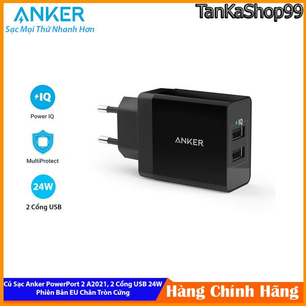 Củ Sạc Anker PowerPort A2021, 24W 2 Cổng USB, Phiên Bản Chân Tròn EU