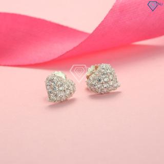 Bông tai nữ bạc hình trái tim đính đá BTN0091 - Trang Sức TNJ thumbnail