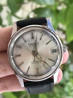 Đồng hồ cơ cổ nữ Citizen 17 jewels, cơ lên cót tay, có ô cửa lịch, dây da màu đen thumbnail