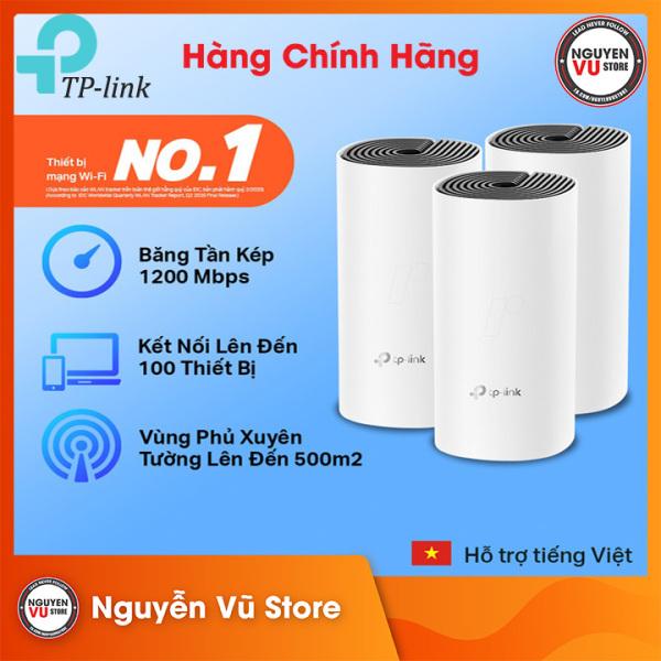 Bộ Phát Wifi Mesh TP-Link Deco M4 (3-pack) Băng Tần Kép MU-MIMO AC1200 - Hàng Chính Hãng