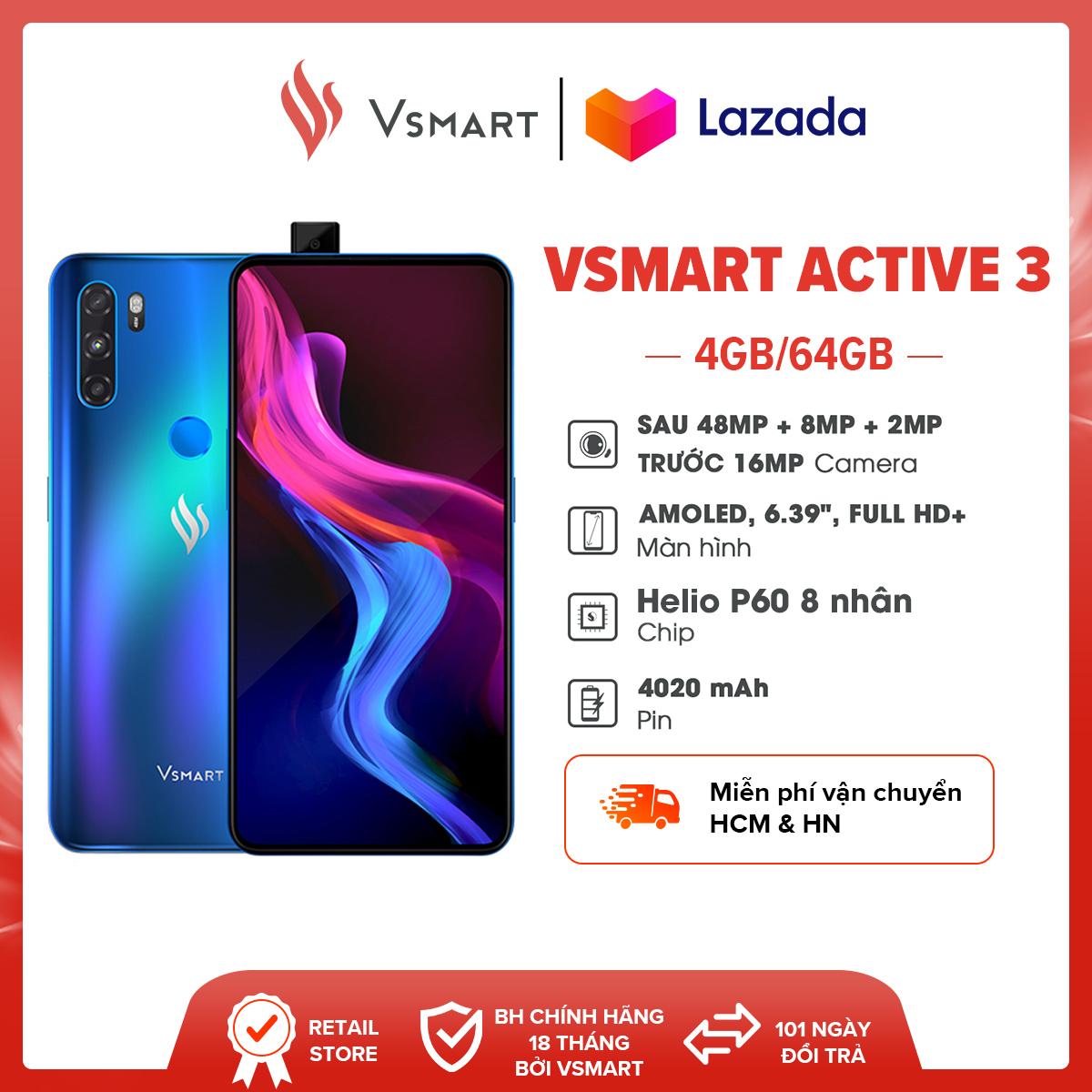 """Điện Thoại Vsmart Active 3 (4GB/64GB) - Màn hình AMOLED 6,39"""" Full HD+ Camera 48MP Chip Helio P60 8 nhân Pin trâu 4,020mAH"""