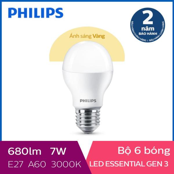 Bộ 6 Bóng đèn Philips LED Essential Gen3 7W 3000K E27 A60 (Ánh sáng vàng) - Dự kiến giao 24/6