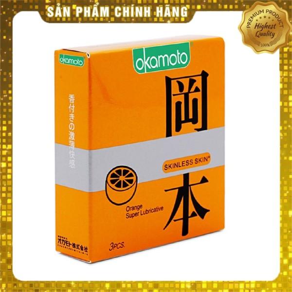 Bao Cao Su Siêu mỏng nhiều gel bôi trơn Okamoto Orange hương cam - 3 chiếc giá rẻ