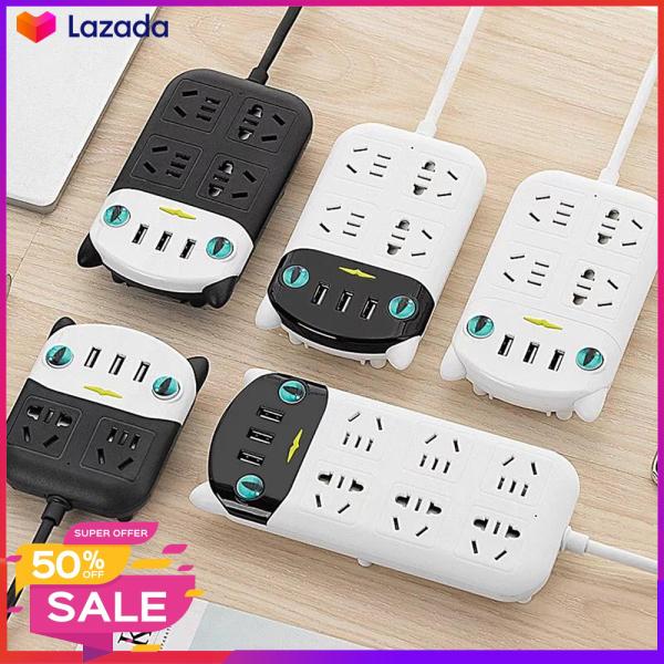 Ổ cắm điện đa năng với 4 ổ cắm + 3 cổng USB sạc điện thoại có đèn báo dễ sử dụng ban đêm kiểu dáng bắt mắt dễ thương