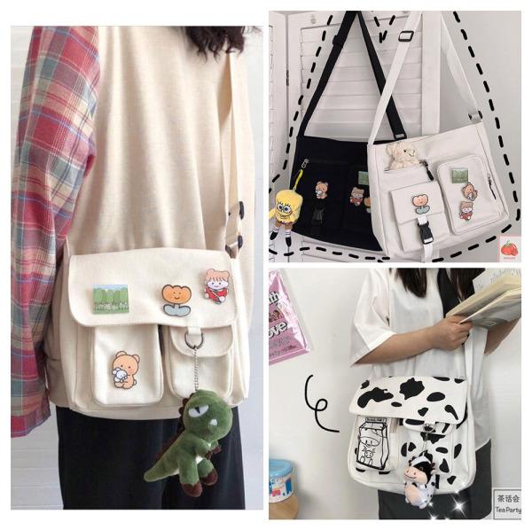[Tặng 3 Sticker]Túi đeo chéo vải canvas nam nữ❤️ đựng được khổ giấy a4 mang phong cách Hàn Quốc M12❤️-TALI STORE