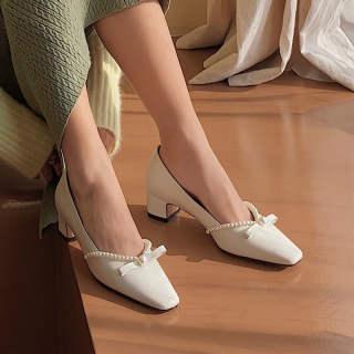 Aurora. An Giày Cao Gót Nữ Giày Cao Gót Hầm Hố 5.5Cm Giày Cao Gót Đế Xuồng Phong Cách Hepburn Mũi Nhọn Thanh Lịch Giày Công Sở Giày Dự Tiệc Giày Nữ Giày Mary Jane
