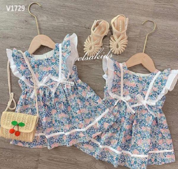 Giá bán VÁY BÉ GÁI 💥 Váy cánh tiên hai nơ hoa xanh cực xinh cho bé 1-7 Tuổi