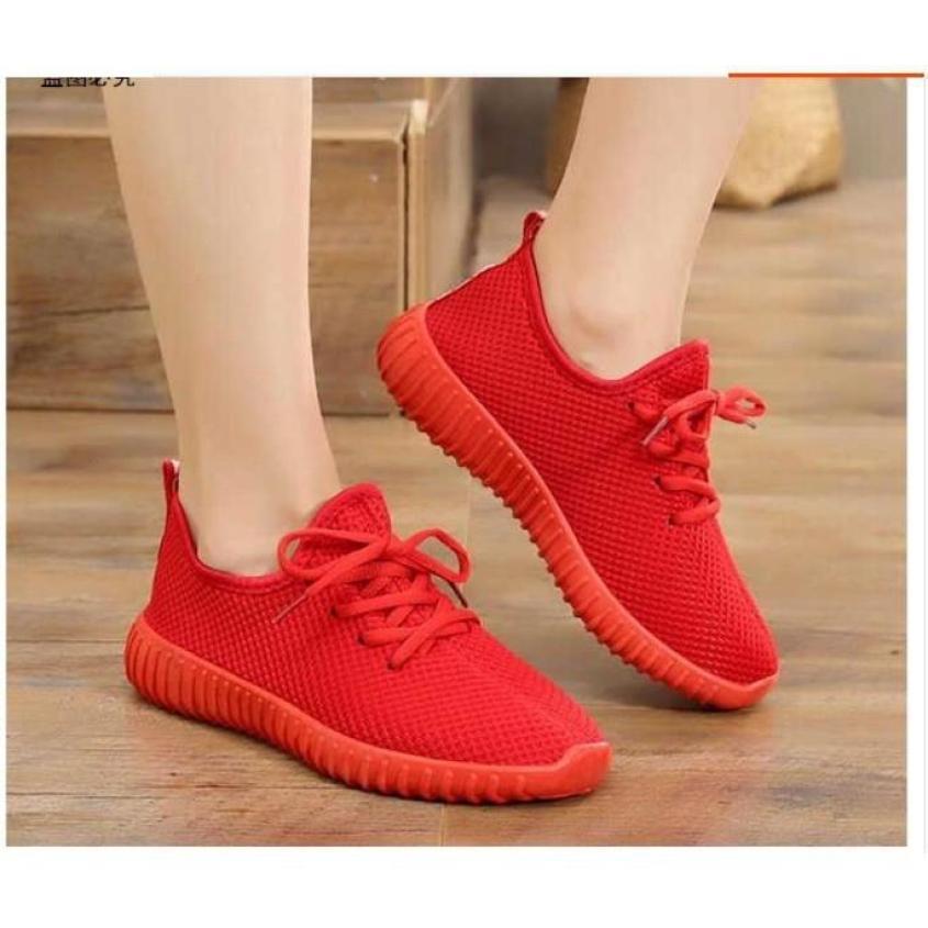 Giày Nữ Thể Thao Vải Trơn, 2 Màu Đen Đỏ Siêu Mềm giá rẻ