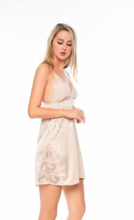 Dreamy VX11-59 Váy ngủ lụa cao cấp hai dây ren 3D xẻ đùi, cổ ren xẻ ngực chữ V sexy màu nude thumbnail