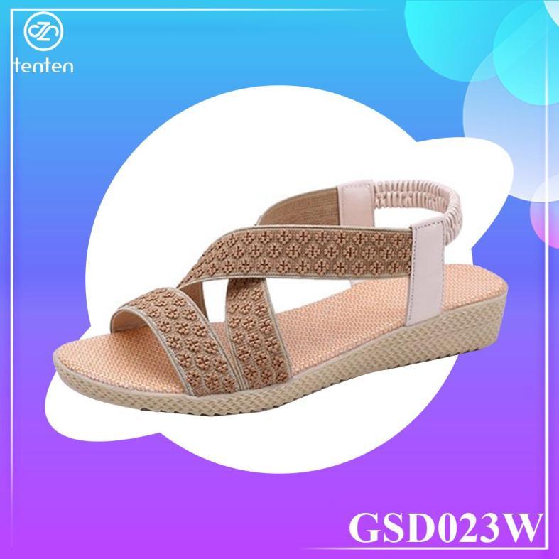 Giày Sandal Nữ Bế Bệt Quai Thun Co Giãn Họa Tiết Thổ Cẩm GSD023W (Nâu) - Tenten giá rẻ