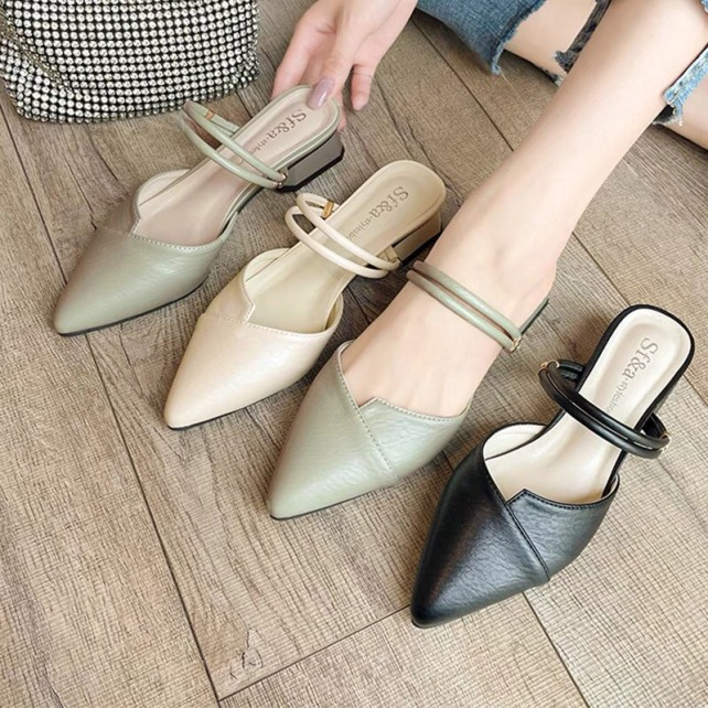 Giày cao gót/ giày sandal nữ mũi nhọn đế 2f đi được 2 kiểu siêu xinh giá rẻ