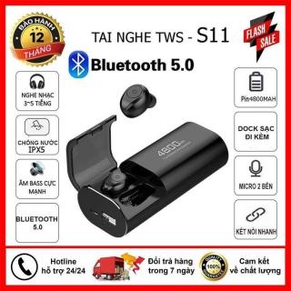 Tai Nghe Bluetooth Amoi TWS S11 Bản Nút Bấm Pin 4800mah, Chip 5.0, Có Micro, Chống Ồn, Chống Nước, Giảm Tạp Âm - Tai nghe nhét tai mini f270 - Tai nghe bluetooth không dây hay hơn i11, i12, i7s, amoi f9 - Tai Nghe Bluetooth Pin Trâu thumbnail