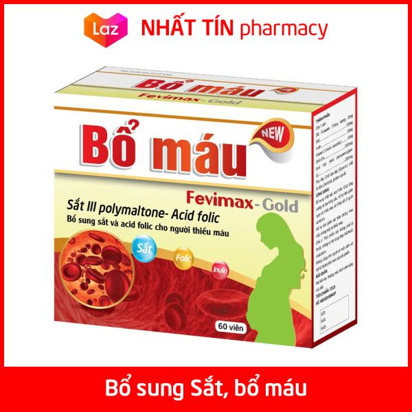 Viên uống Bổ máu Fevimax Gold bổ sung Sắt, Acid Folic cho người thiếu máu, phụ nữ mang thai và cho con bú - Hộp 60 viên - NHẤT TÍN PHARMA cao cấp